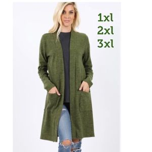 NEW Plus Women's Moss Green Cardigan With Pockets